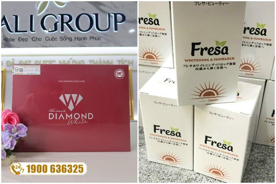 So sánh viên uống chống nắng nội sinh Fresa và viên uống Diamond White
